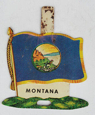1959 Tin Litho Nabisco Shredded Wheat State Flag for Montana