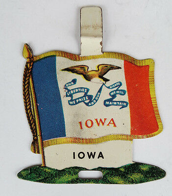 1959 Tin Litho Nabisco Shredded Wheat State Flag for Iowa