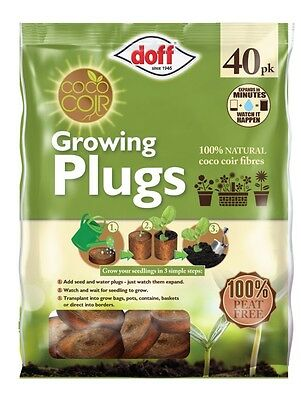 40 x PEAT FREE DOFF GROWING PLUGS-100% NATURAL COCO COIR FIBRES-Resealable Pack