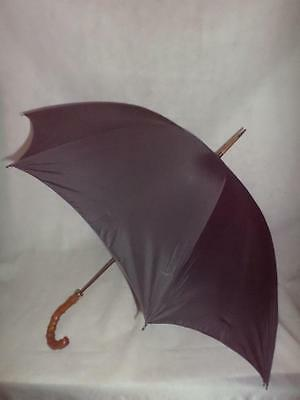 *vintage Antique Gents Umbrella- Pigskin Wrapped Bamboo- 18Ct Gold Plate Collar*