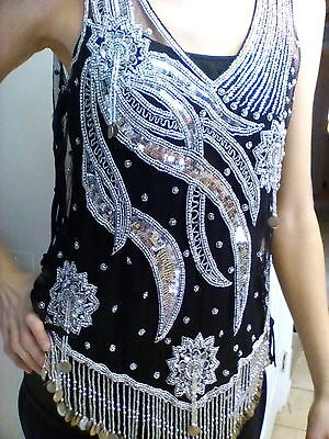 VERY BEAUTIFUL! Sequin Top Beaded w/fringes & coins, Silver & Black! Belly Dance