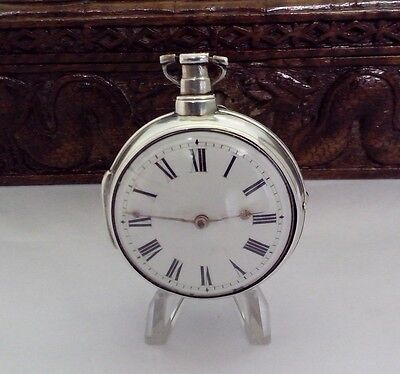 ANTIQUE SOLID SILVER VERGE POCKET WATCH Paired 1809  W.HADDINGTON LIVERPOOL