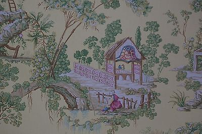"BRAEMORE FABRIC Chinoiserie Asian Toile Yellow Ground 1 yard 2"" long"
