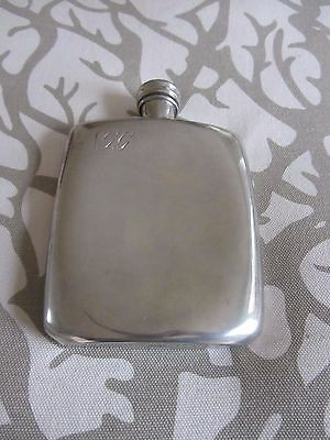 James Dixon Sons Silver Plated Engine Turned Hip Flask 5 ozs.