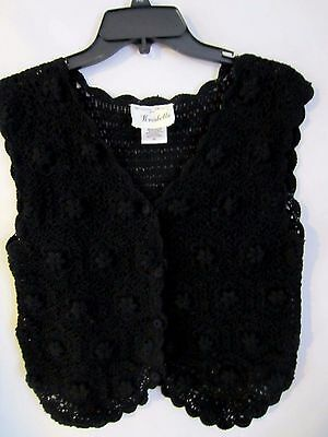 Kroshetta vintage black cotton crocheted boho hippy S vest