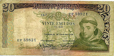 Portugal, 20 Escudo banknote 1964, Circulated