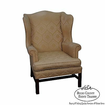 Custom Quality Vintage Chippendale Style Wing Chair by W&J Sloane