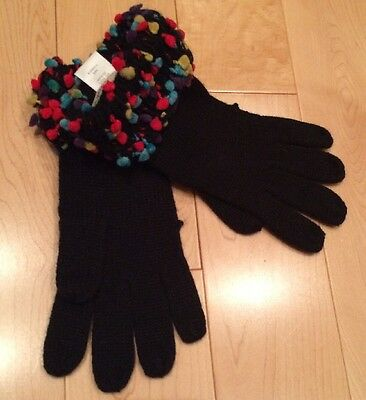 Coldwater Creek Women's Black Gloves With Colorful Pom Poms
