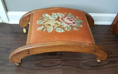 Vintage Needlepoint Embroidered Fabric Foot Stool Ottoman Wheels Wood Bench 8""