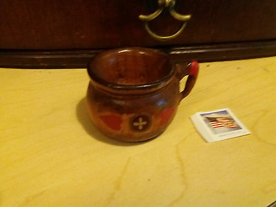 Vintage Miniature Hand Carved Wood  Chamber Pot