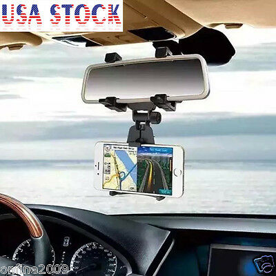 Car Rearview Mirror Mount Holder Stand Cradle Bracket For Cell Mobile Phone CA