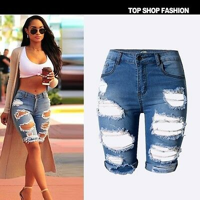 US Women Summer Ripped High Waist Short Pants Denim Jeans Slim Casual Trousers
