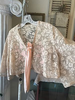 Antique French Net Lace Ladies Jacket Coverup Silk Appliqués Made In France