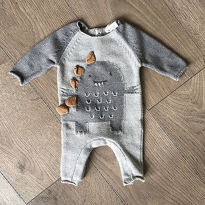 Next Baby Boys Knitted Dinosaur Romper Age Up To 1 Month