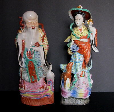 """Antique Asian Chinese Famille Rose Gods Magu & Shou Porcelain Statues 13"""" tall"""