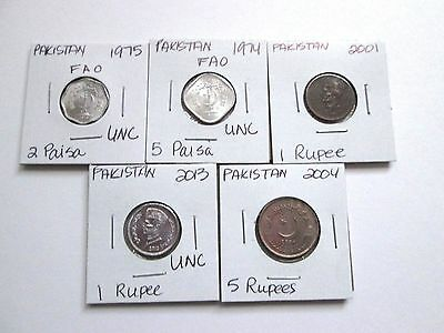 PAKISTAN    5 coins, 1974-2013, circ-unc, carded
