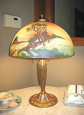 Antique Pittsburgh Obverse Not Reverse Painted Lamp Signed