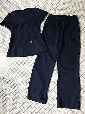 Womens GREYS ANATOMY SCRUBS Navy Set by Barco - Pants 4232 and Top 4153 - Sz XS