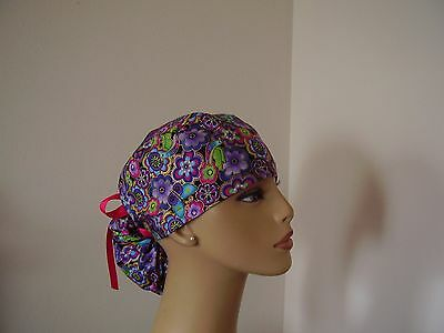 Ponytail Scrub Hat-  Bright Multi color Florals- One size- Handmade