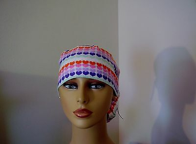 Ponytail Scrub Hat- Multi color Hearts- One size- Handmade