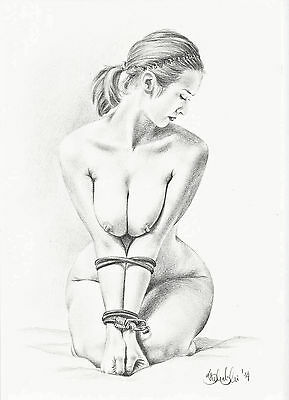 NUDE  FEMALE ART STUDY A4 PRINT of the original pencil drawing
