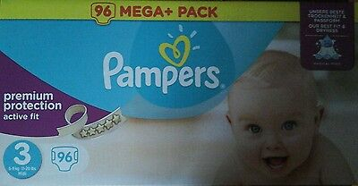 96  Couches Pampers Active Fit - Taille 3 -  Midi - 4 A 9 Kg