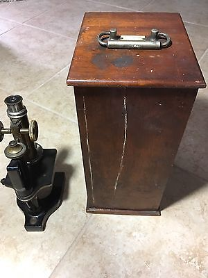 1890 Era Antique BAUSCH & LOMB OPTICAL CO. LABORATORY MICROSCOPE Estate Find
