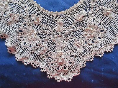Unusual Antique Hand Made Large Irish Crochet Lace Collar~Embellished/motifs