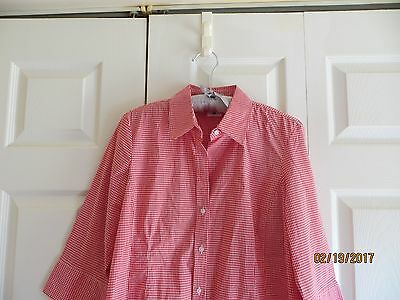 Motherhood Maternity Red White Checked 3/4 Sleeve Button Down Women Size Med