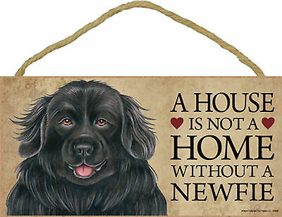 A house is not a home without a Newfie Wood Newfoundland Dog Sign USA Made NEW