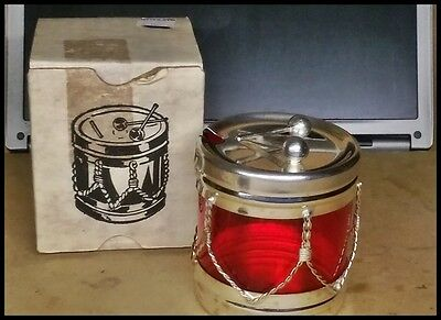 Leonard Sterling Silver Plate Drum & Cranberry Condiment Mustard Pot Boxed