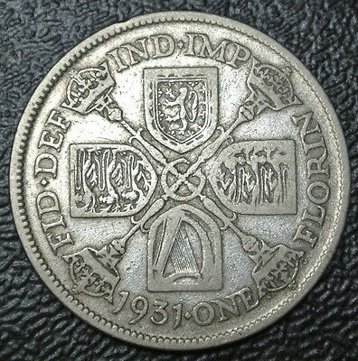 1931 GREAT BRITAIN - ONE FLORIN - .500 SILVER - George V - Nice