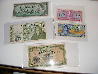 Lot Set of 5 Mixed World  Foreign Paper Money fractional etc.