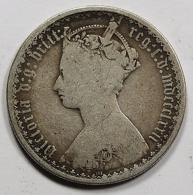 Great Britain UK 1872 1 Florin Silver Coin VG/Fine QUEEN VICTORIA GOTHIC STYLE