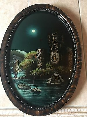 """Antique Tiger Wood Frame, Oval Convex Glass Reverse Painting  """"On The Danube"""""""