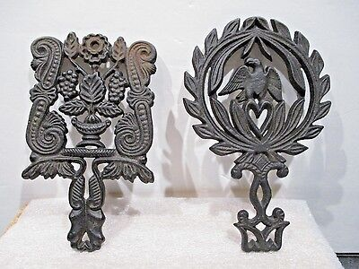 Vintage JZH Cast Iron 1949 American Eagle Trivet &1950 Grapes Trivet