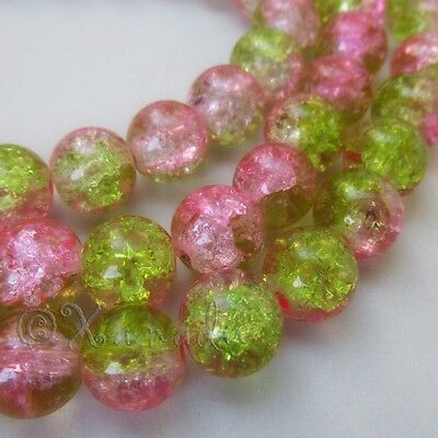 Pink Green Wholesale 10mm Crackle Glass Beads G0009 - 20, 50 Or 100PCs