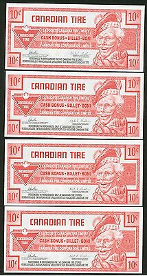 Lot of 4 -  2014 Canadian Tire money 10 cent notes, consecutive serial numbers