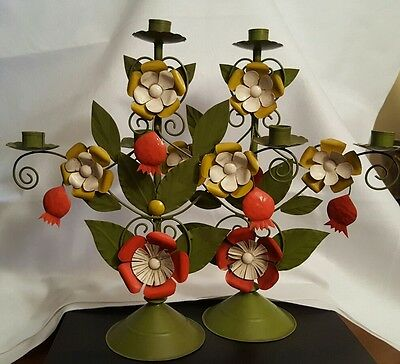 Pair of Vintage Mexican Tin Candelabra Candle Holders, Flowers w/ Hanging Buds
