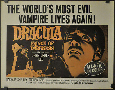 Dracula, Prince Of Darkness 1966 Original 22X28 Movie Poster Christopher Lee