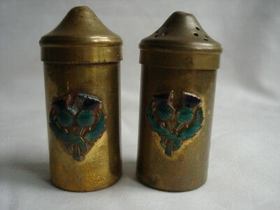 Antique brass salt and pepper shakers, made in Scotland