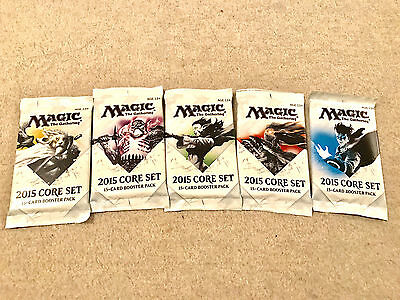 5 Magic the Gathering CCG: 2015 Core Set 15-Card Booster Packs factory sealed