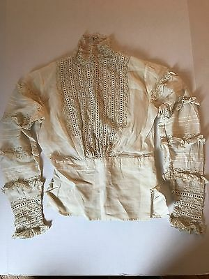 Victorian Or Edwardian French Lace Antique Vintage Lace Blouse Great Sleeves