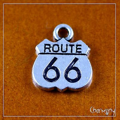 Tiny ROUTE 66 charm ~Tibetan silver for pendant DIY jewelry keyring USA highway