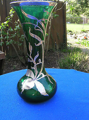 Large green glass sterling silver overlay vase 12""
