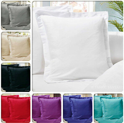 Pair of European Pillowcases  65 x 65 cm 1000TC Microfibre 12 Colours