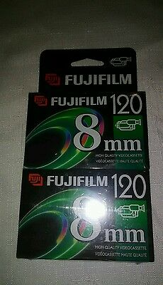Sealed Fujifilm 2-pack P6-120 120 Minute 8mm Videocassette High Quality P6-120