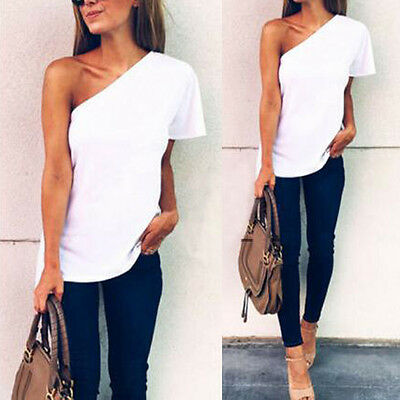 Womens Plus Size Summer One Shoulder Ladies Stretch Short Sleeve T-Shirt Top New