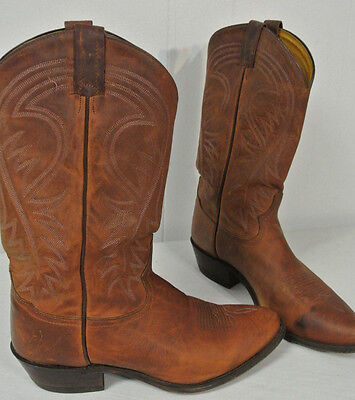 """TONY LAMA Sz 10.5 D Men Western COWBOY BOOTS Brown Leather 14"""" Roper Pointed Toe"""