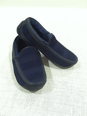 MEN'S UGG AUSTRALIA ASCOT WEAVE NAVY BLUE SUEDE MOCCASIN SLIPPERS sz 10